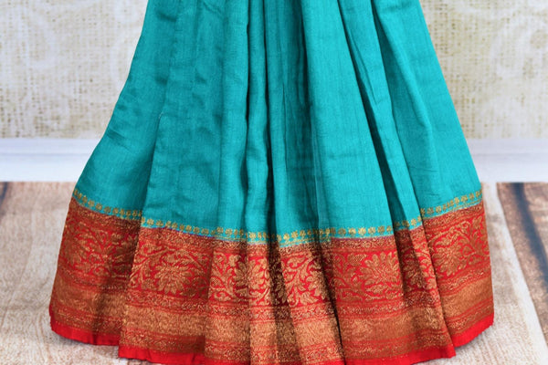 Buy blue muga silk saree with antique gold border online in USA. Explore a range of beautiful Indian Muga silk sarees for in USA at Pure Elegance clothing store or shop online. -pleats