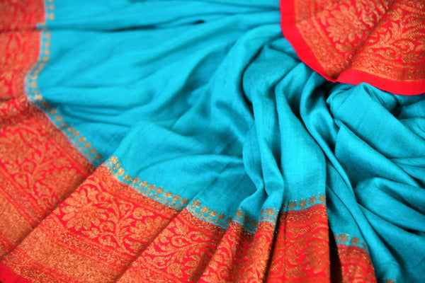 Buy blue muga silk saree with antique gold border online in USA. Explore a range of beautiful Indian Muga silk sarees for in USA at Pure Elegance clothing store or shop online. -details