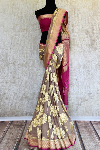 Buy light brown Banarasi georgette saree online in USA. Pure Elegance clothing store brings an exquisite range of Indian Banarasi saris for online shopping in USA.-full view