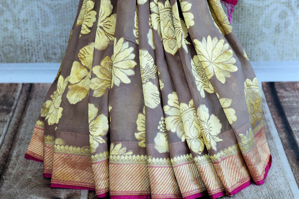 Buy light brown Banarasi georgette saree online in USA. Pure Elegance clothing store brings an exquisite range of Indian Banarasi saris for online shopping in USA.-pleats