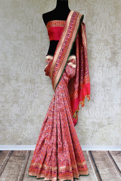 Buy traditional red Banarasi silk ghatchola saree online in USA. Pure Elegance clothing store brings an exquisite variety of Indian Banarasi sarees in USA. Shop online-full view