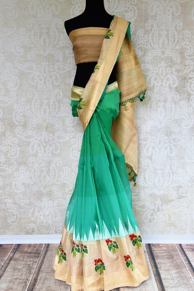 Buy greenish blue resham work kora silk sari online in USA. Pure Elegance clothing store brings an exquisite range of Indian woven silk sarees in USA for women. Shop online.-full view
