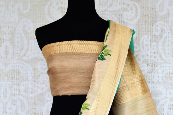 Buy greenish blue resham work kora silk sari online in USA. Pure Elegance clothing store brings an exquisite range of Indian woven silk sarees in USA for women. Shop online.-blouse pallu