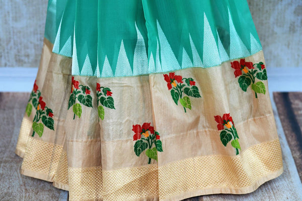 Buy greenish blue resham work kora silk sari online in USA. Pure Elegance clothing store brings an exquisite range of Indian woven silk sarees in USA for women. Shop online.-pleats