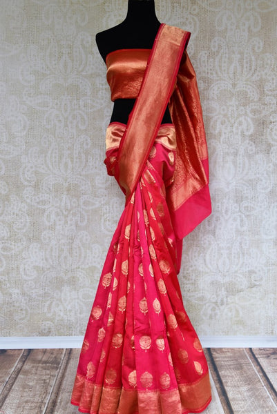 Buy pink Banarasi silk saree with gold buta online in USA. Pure Elegance clothing store brings a stunning range of Indian wedding sarees for online shopping in USA. -full view