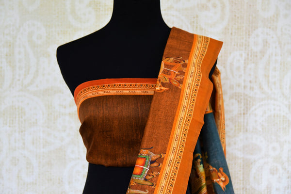 Buy brown printed chanderi saree online in USA. Pure Elegance clothing store brings a stunning range of Indian woven sarees for online shopping in USA. Shop now.-blouse pallu