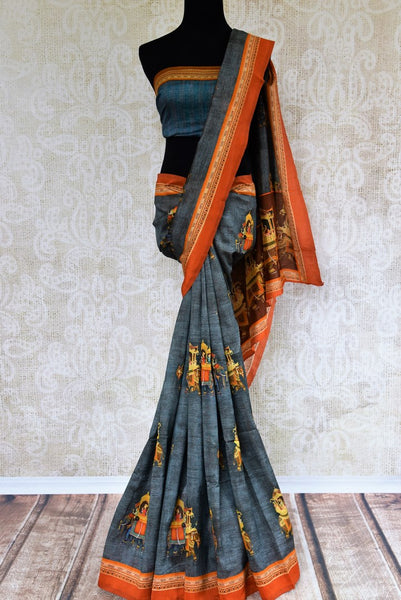 Buy blue printed chanderi sari online in USA. Pure Elegance clothing store brings a stunning range of Indian woven sarees for online shopping in USA. Shop now.-full view