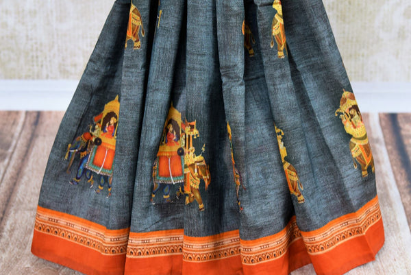 Buy blue printed chanderi sari online in USA. Pure Elegance clothing store brings a stunning range of Indian woven sarees for online shopping in USA. Shop now.-pleats