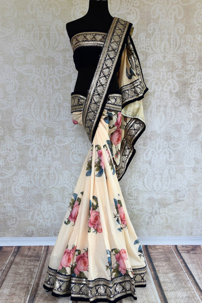 Buy off white embroidered printed muga silk saree online in USA. Pure Elegance fashion store brings an exclusive range of  Indian designer sarees in USA for women. -full view
