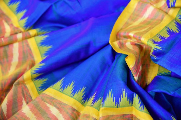 Buy blue eri silk saree online in USA with yellow border. Pure Elegance clothing store brings an exquisite range of Indian silk sarees in USA for women. Shop online.-details