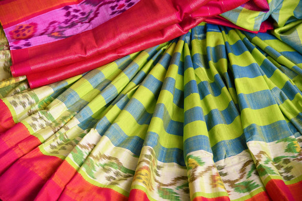 Buy green striped eri silk saree online in USA with pink border. Pure Elegance clothing store brings an exquisite range of Indian silk sarees in USA for women. Shop online.-details