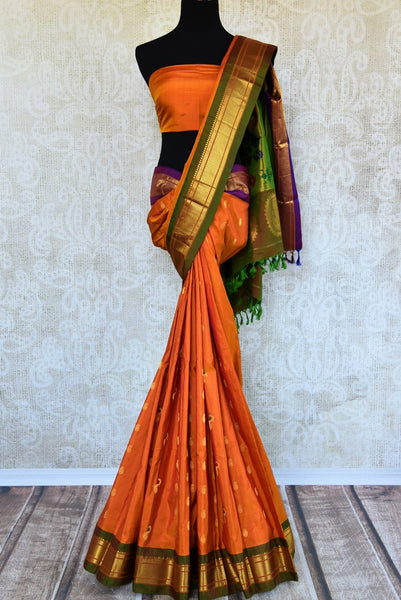 Buy orange paithani silk sari with buta online in USA. Pure Elegance clothing store brings an exquisite range of Indian silk sarees in USA for women. Shop online.-full view