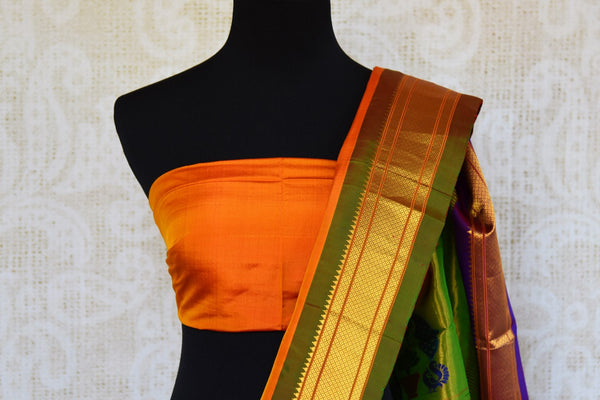 Buy orange paithani silk sari with buta online in USA. Pure Elegance clothing store brings an exquisite range of Indian silk sarees in USA for women. Shop online.-blouse pallu