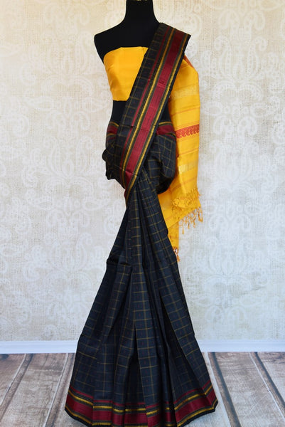 Buy black checker khadi silk saree online in USA. Pure Elegance clothing store brings an exquisite range of ethnic Indian silk saris in USA for women. Shop online.-full view