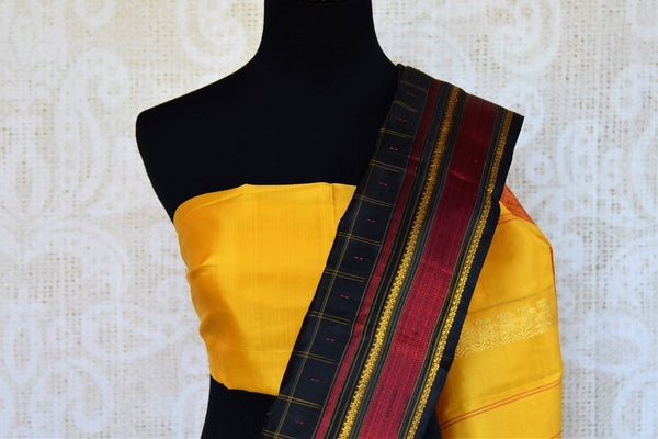 Buy black checker khadi silk saree online in USA. Pure Elegance clothing store brings an exquisite range of ethnic Indian silk saris in USA for women. Shop online.-blouse pallu