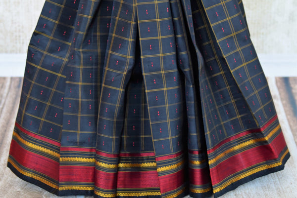 Buy black checker khadi silk saree online in USA. Pure Elegance clothing store brings an exquisite range of ethnic Indian silk saris in USA for women. Shop online.-pleats