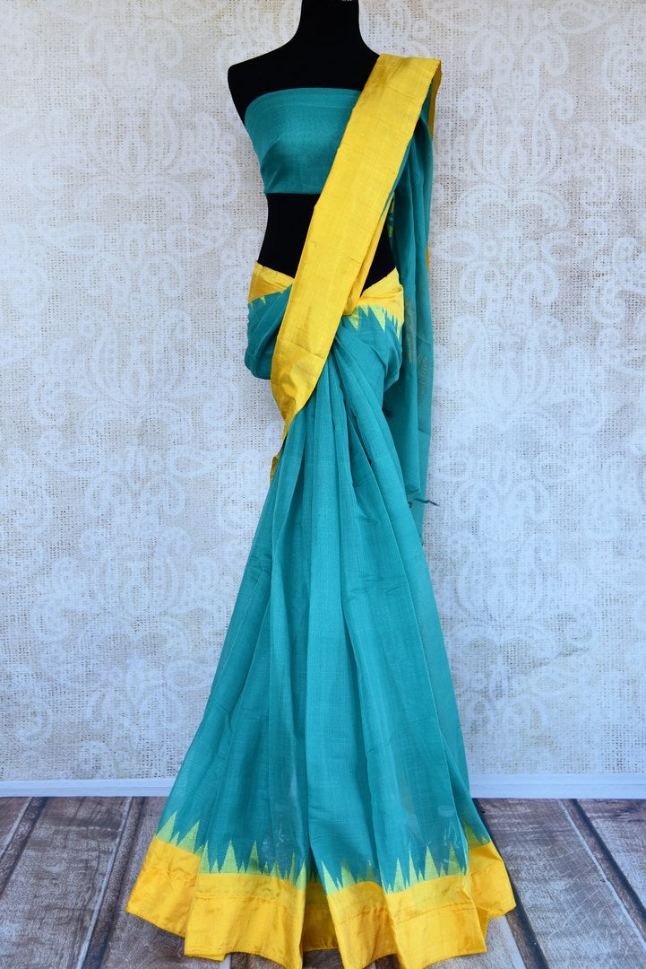 Buy light blue ikkat khaddi saree online in USA. Pure Elegance clothing store brings an alluring collection of ethnic Indian ikat sarees in USA for women. Shop online.-full view
