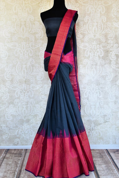 Buy dark grey ikat khaddi saree online in USA. Pure Elegance clothing store brings an alluring collection of ethnic Indian ikkat sarees in USA for women. Shop online.-full view