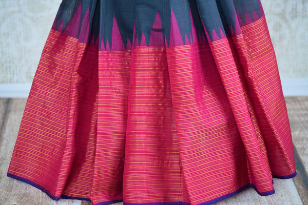 Buy dark grey ikat khaddi saree online in USA. Pure Elegance clothing store brings an alluring collection of ethnic Indian ikkat sarees in USA for women. Shop online.-pleats
