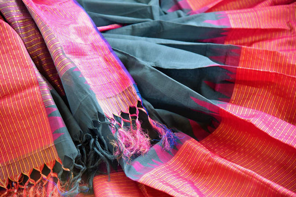 Buy dark grey ikat khaddi saree online in USA. Pure Elegance clothing store brings an alluring collection of ethnic Indian ikkat sarees in USA for women. Shop online.-details