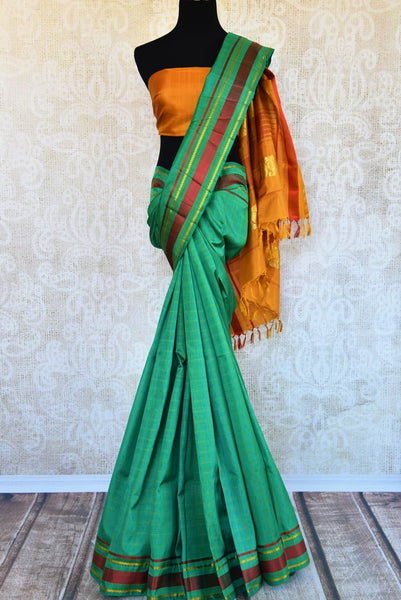 Buy green checker khadi silk saree online in USA. Pure Elegance clothing store brings an exquisite range of Indian woven silk sarees in USA for women. Shop online.-full view