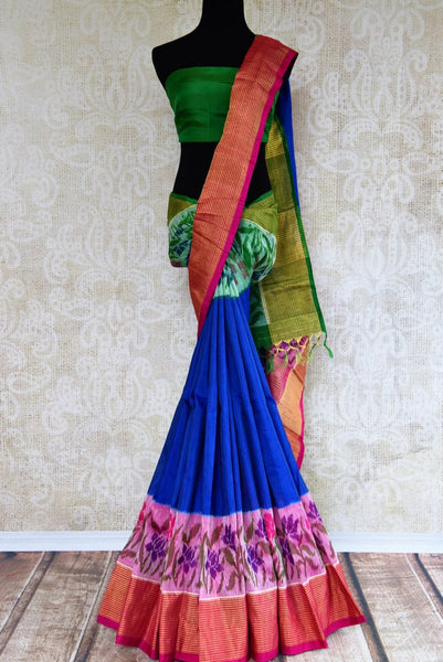 Shop elegant blue khadi linen saree with floral border online in USA. Explore a range of exquisite Indian sarees in USA at Pure Elegance fashion store or shop online.-full view