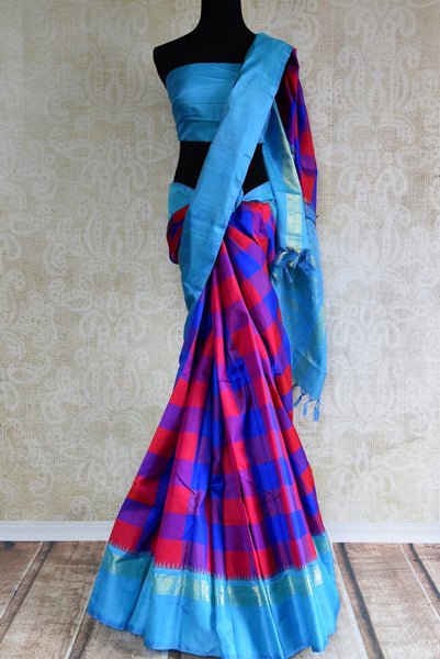 Buy pink and blue checker Kanjeevaram silk saree online in USA. Explore a range of exquisite Indian Kanchipuram silk sarees in USA at Pure Elegance fashion store or shop online. -full view