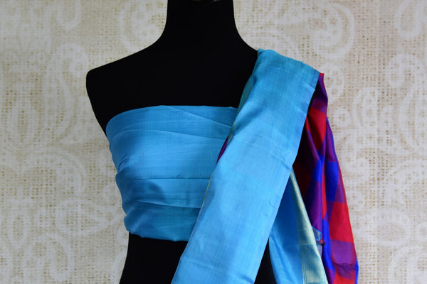Buy pink and blue checker Kanjeevaram silk saree online in USA. Explore a range of exquisite Indian Kanchipuram silk sarees in USA at Pure Elegance fashion store or shop online. -blouse pallu