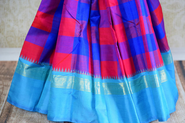 Buy pink and blue checker Kanjeevaram silk saree online in USA. Explore a range of exquisite Indian Kanchipuram silk sarees in USA at Pure Elegance fashion store or shop online. -pleats