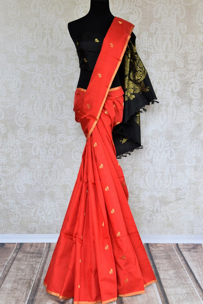 Buy red Kanjeevaram silk saree online in USA with black zari pallu. Pure Elegance fashion store brings an exclusive range of  Indian Kanchipuram silk sarees in USA.-full view