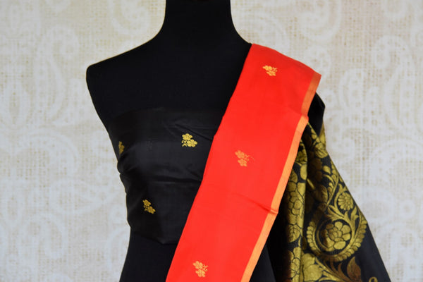 Buy red Kanjeevaram silk saree online in USA with black zari pallu. Pure Elegance fashion store brings an exclusive range of  Indian Kanchipuram silk sarees in USA.-blouse pallu
