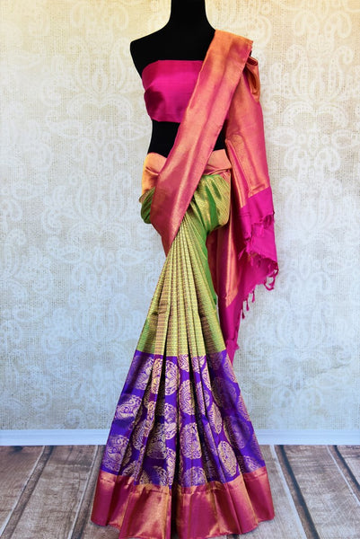 Buy green and purple Kanchipuram silk saree online in USA. Pure Elegance clothing store brings an exquisite range of Indian Kanjivaram silk sarees in USA for women. -full view