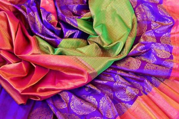 Buy green and purple Kanchipuram silk saree online in USA. Pure Elegance clothing store brings an exquisite range of Indian Kanjivaram silk sarees in USA for women. -details