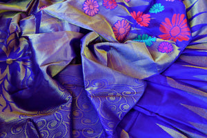 Buy blue Kanchipuram silk saree online in USA. Pure Elegance clothing store brings an exquisite range of Indian Kanjivaram silk sarees in USA for women.  Shop online.-details