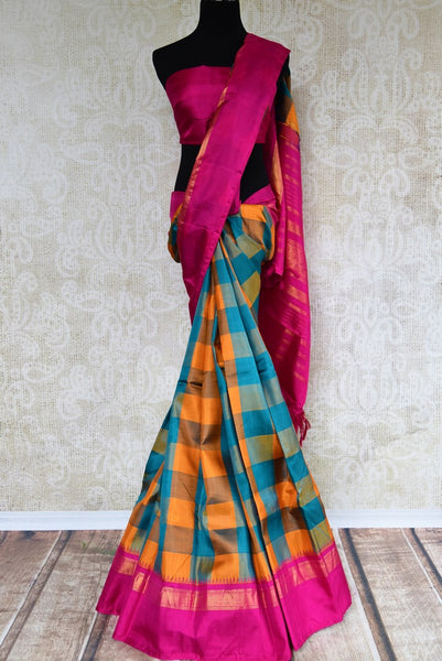 Buy orange and blue checker Kanjeevaram silk saree online in USA. Explore a range of exquisite Indian Kanchipuram silk sarees in USA at Pure Elegance store or shop online. -full view
