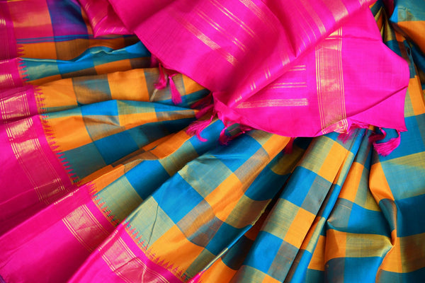 Buy orange and blue checker Kanjeevaram silk saree online in USA. Explore a range of exquisite Indian Kanchipuram silk sarees in USA at Pure Elegance store or shop online. -details