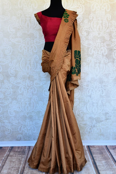 Buy brown silk applique saree with blouse online in USA. Pure Elegance clothing store brings an exquisite range of Indian designer sarees in USA for weddings. Shop online.-full view