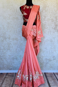 Buy Online Peach Silk Applique Saree in USA with Readymade Blouse