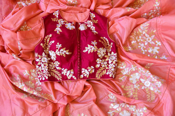 Buy peach silk applique sari with blouse online in USA. Pure Elegance clothing store brings an exquisite range of Indian designer sarees in USA for weddings. Shop online.-details