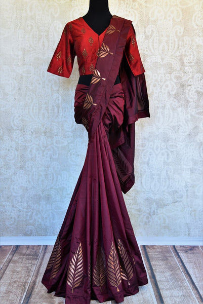 Buy maroon silk applique work sari with blouse online in USA. Pure Elegance clothing store brings an exquisite range of Indian designer sarees in USA for weddings. -full view