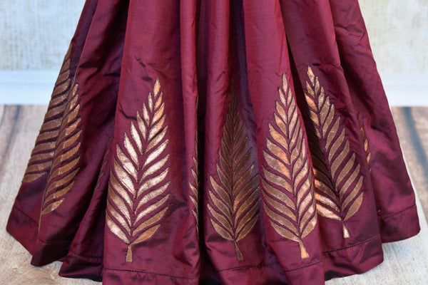 Buy maroon silk applique work sari with blouse online in USA. Pure Elegance clothing store brings an exquisite range of Indian designer sarees in USA for weddings. -pleats