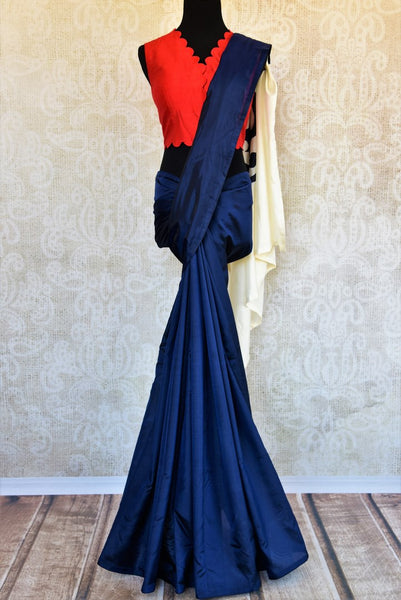 Buy blue silk applique work saree with red blouse online in USA. Pure Elegance clothing store brings an exquisite range of Indian designer saris in USA for weddings. -full view
