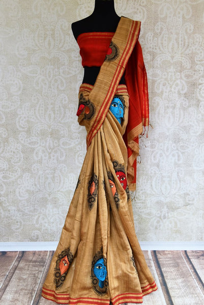 Buy elegant beige embroidered matka saree online in USA. Pure Elegance fashion store brings an exclusive range of  Indian woven Matka sarees in USA. Shop online.-full view