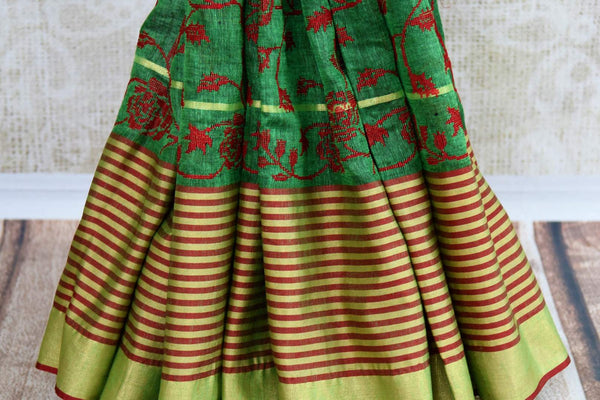 Buy green embroidered linen saree online in USA. Pure Elegance fashion store brings an exqusite range of  Indian woven Linen saris in USA for women. Shop online.-pleats