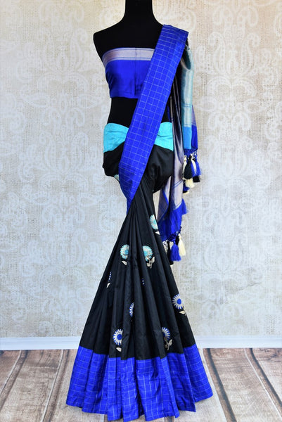 Buy black Banarasi silk saree with resham buta online in USA. Pure Elegance clothing store brings an exclusive range of traditional Indian Banarasi sarees in USA for women.-full view