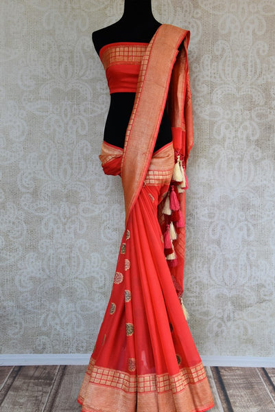Pink georgette Banarasi saree buy online in USA with buta. Pure Elegance clothing store brings an exquisite range of  Indian designer sarees in USA for women. Shop now.-full view