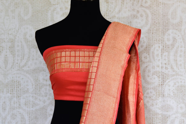 Pink georgette Banarasi saree buy online in USA with buta. Pure Elegance clothing store brings an exquisite range of  Indian designer sarees in USA for women. Shop now.-blouse pallu