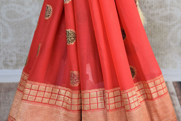 Pink georgette Banarasi saree buy online in USA with buta. Pure Elegance clothing store brings an exquisite range of  Indian designer sarees in USA for women. Shop now.-pleats