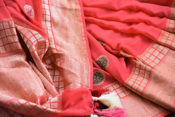 Pink georgette Banarasi saree buy online in USA with buta. Pure Elegance clothing store brings an exquisite range of  Indian designer sarees in USA for women. Shop now.-details
