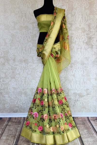 Buy pista green organza tissue embroidered saree online in USA. Explore a collection of exquisite Indian embroidered sarees in USA at Pure Elegance store or shop online.-full view